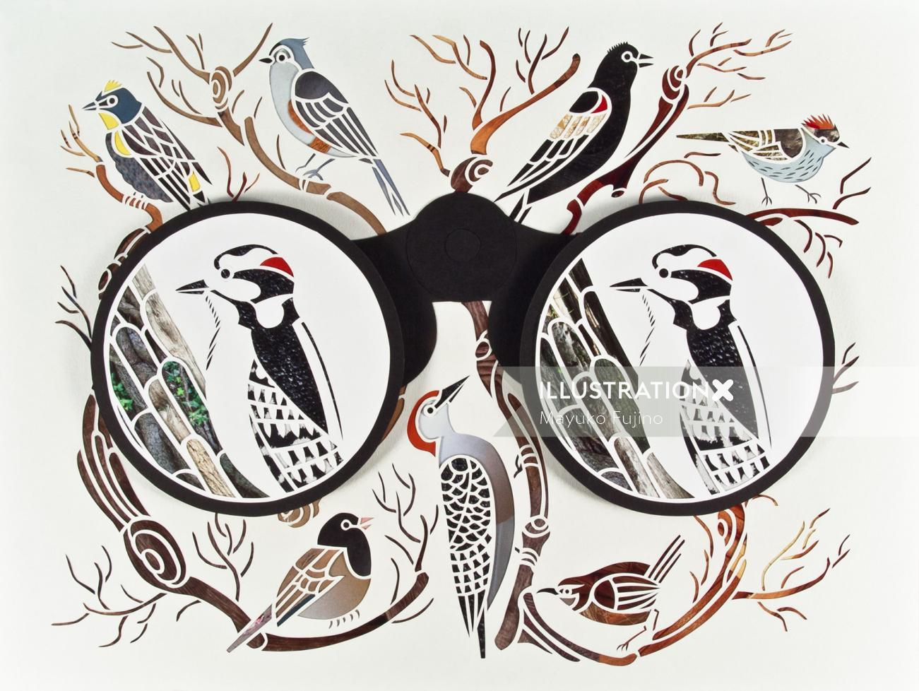 Paper art of binocular birds
