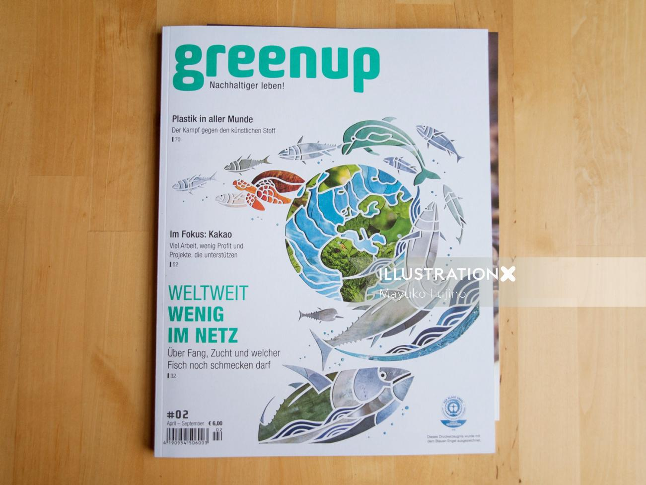 Greenup Magazine Cover Illustration Of Sustainable Fishing