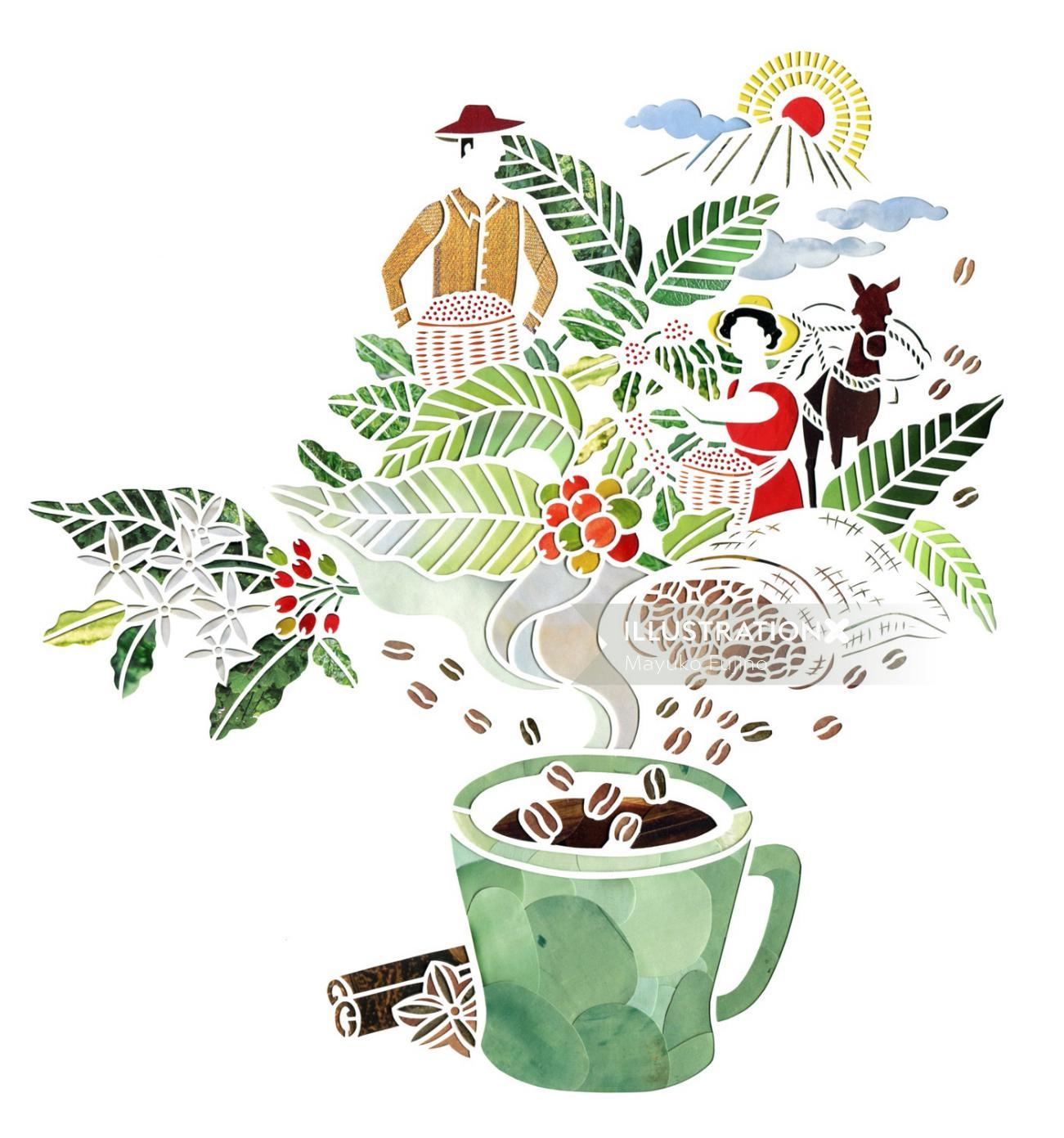 Decorative illustration of  plant