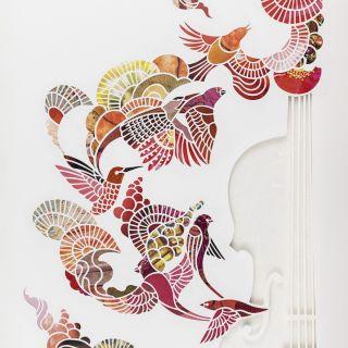 Paper-cut violin with birds