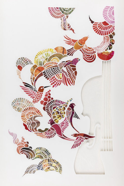 Paper-cut violin with birds