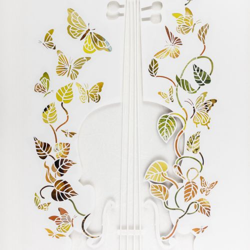 Decorative illustration of violin with butterflies