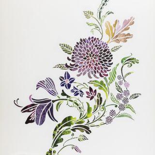 Flower plant paper-cut design
