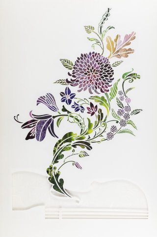 Flower plant paper-cut design