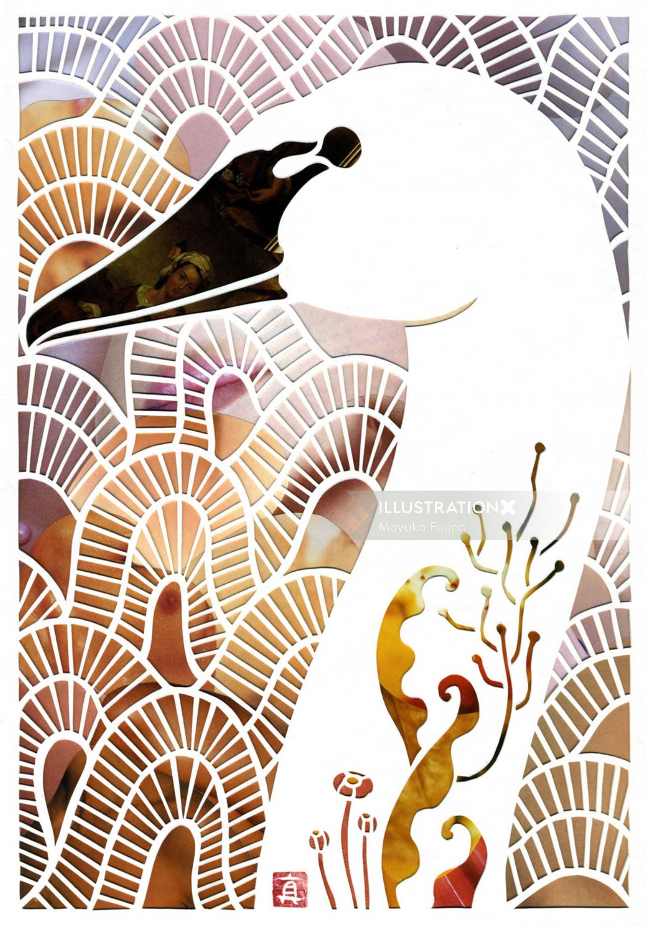 Swan Paper cut animals design