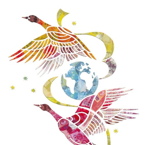 An illustration of flying birds