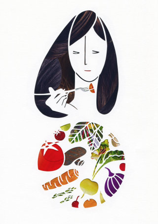 An illustration of a lady eating fruits