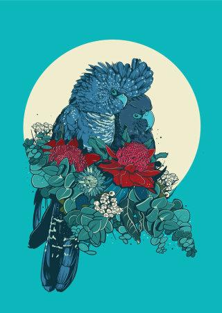 Digital art of Black Cockatoos by Mel Baxter