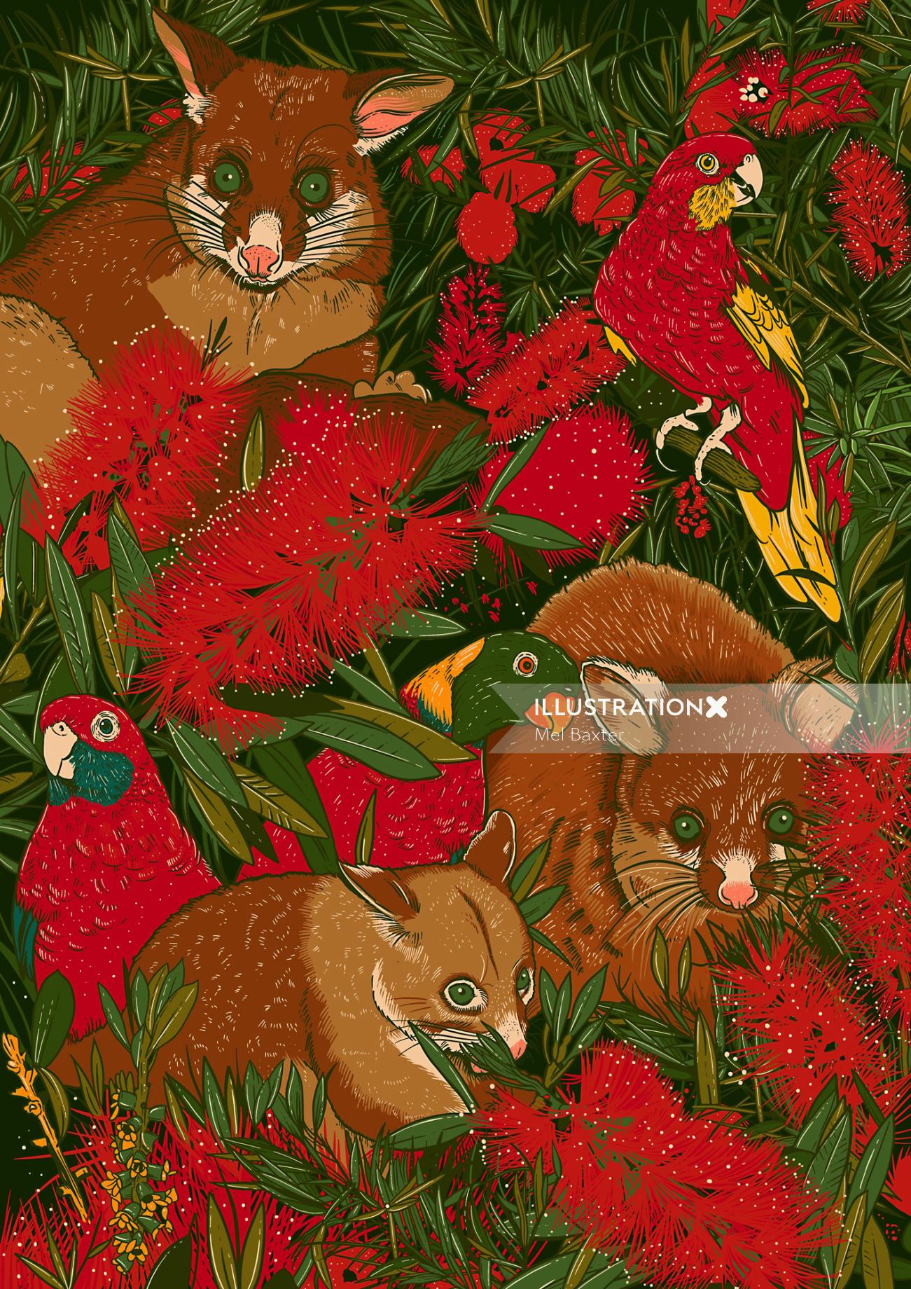 Folded wrapping paper of Possum's Menagerie