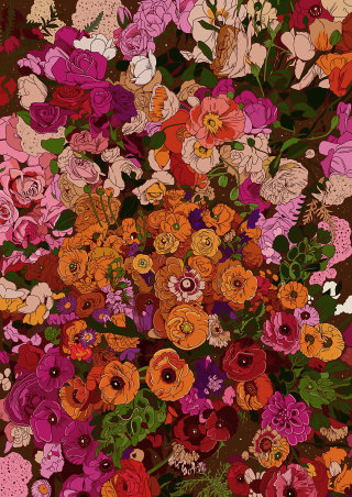 Organic flowers illustration by Mel Baxter