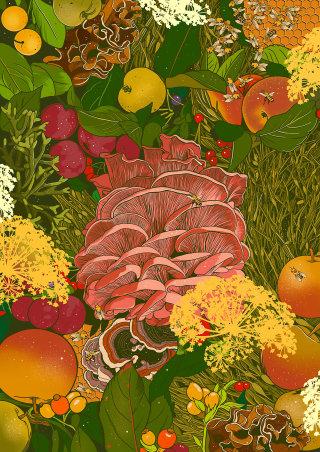 vegetables artwork by Mel Baxter