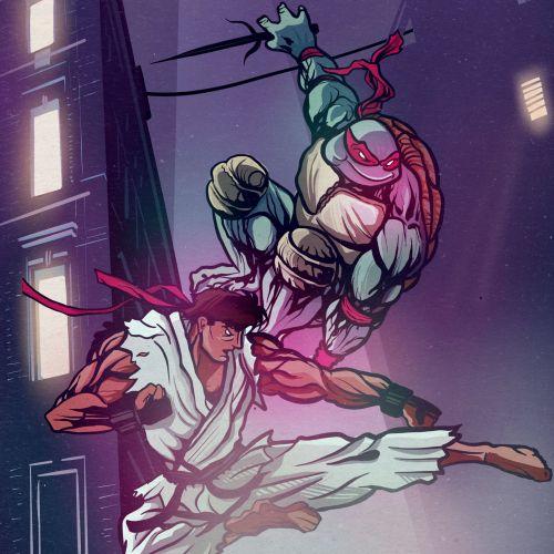 Turtles fighting poster from teenage mutant ninja turtles movie
