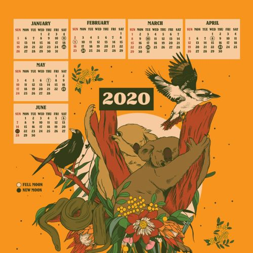 Retro art of birds design on calendar