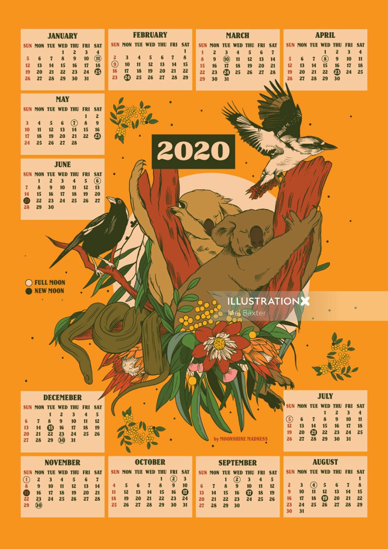 Retro art of birds design on calendar
