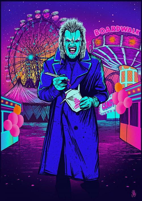 Ilustración conceptual gráfica de un hombre aterrador en exposición
