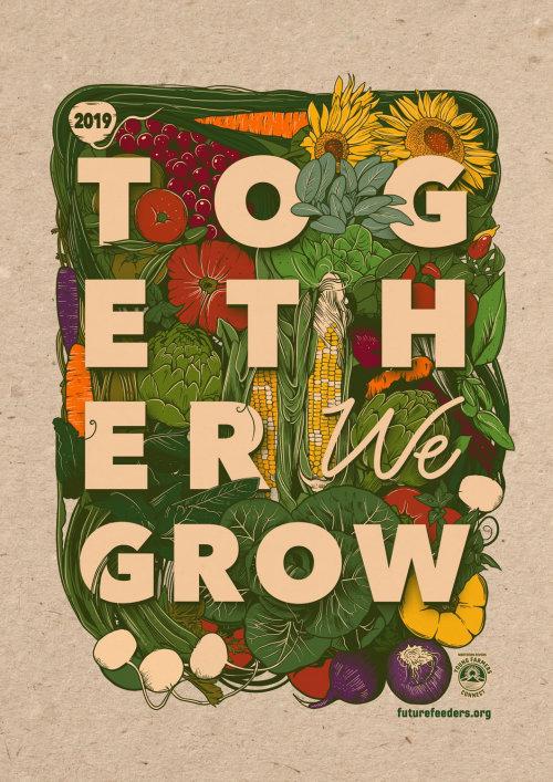 Ilustración de verduras juntos crecen