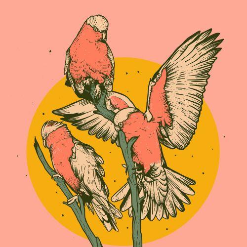 Retro art birds sitting on tree