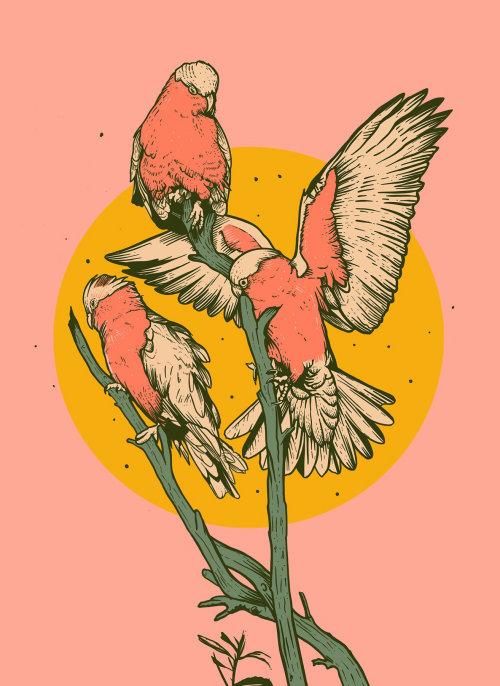 Aves de arte retro sentado en el árbol