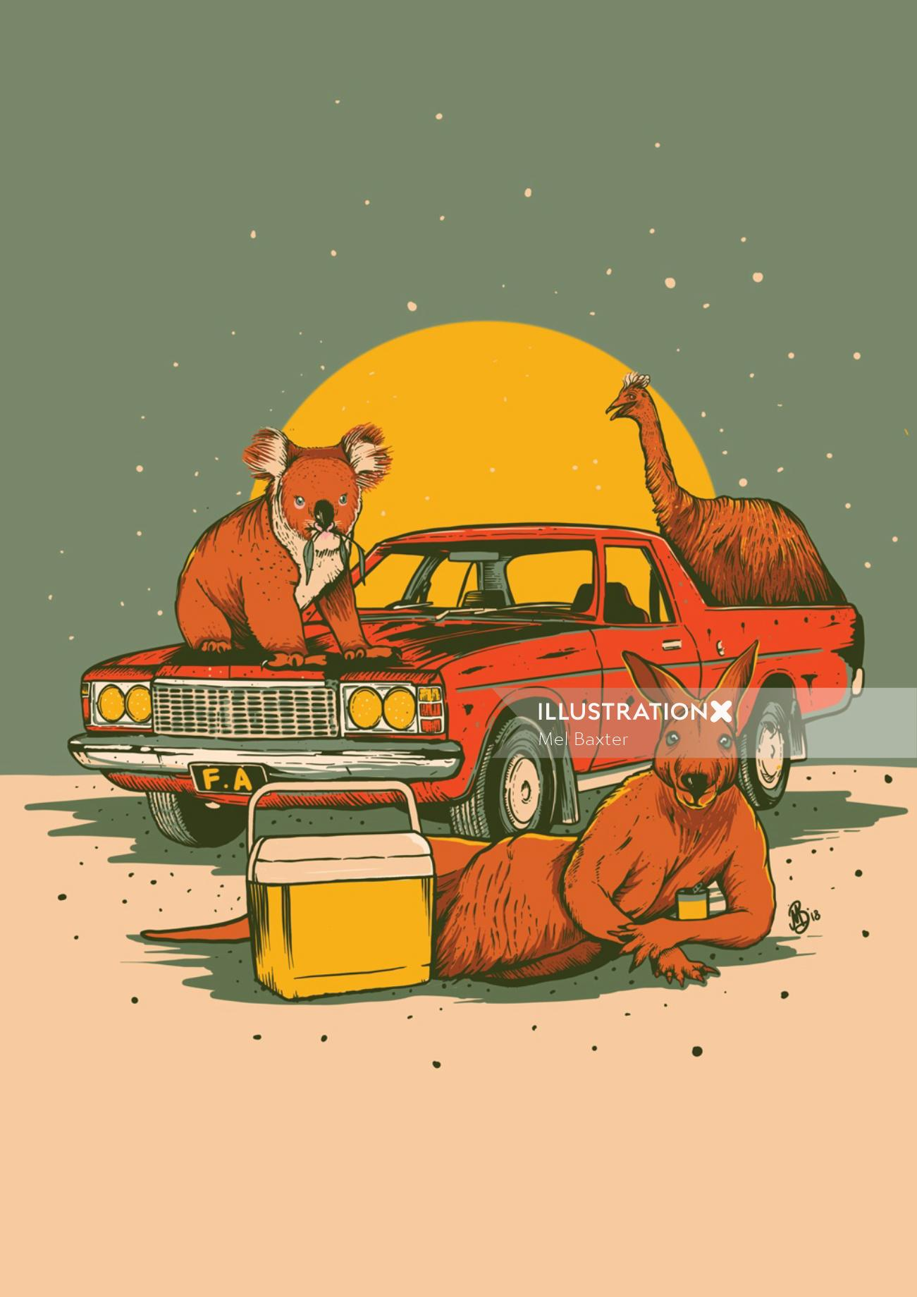 Graphic illustrationf animals partying