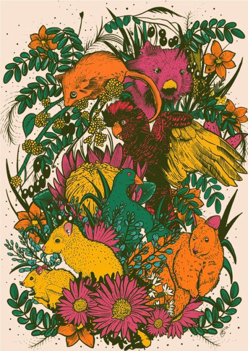 Graphic Line illustration of animals