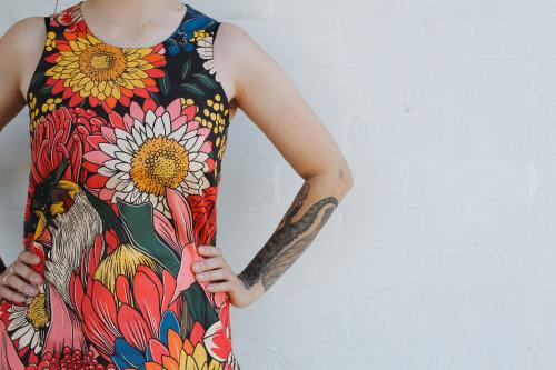 Cuadro de girasol en vestido