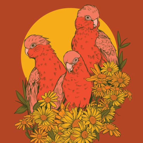Painting of birds on orange background