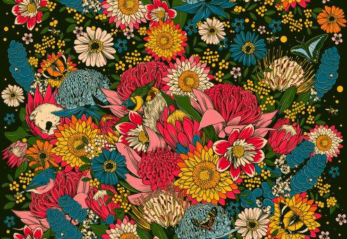 Pintura de varias flores