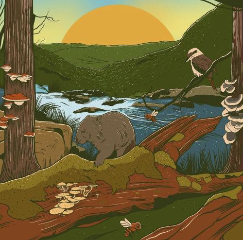 Naturaleza colorida jadeando con animales