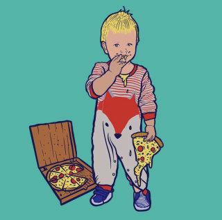 Cute Boy eating pizza