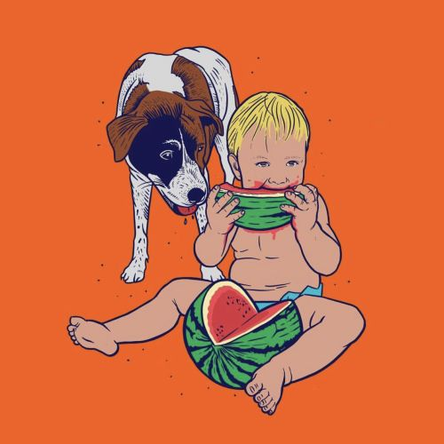Food & Drink painting of babdy and dog with watermelon