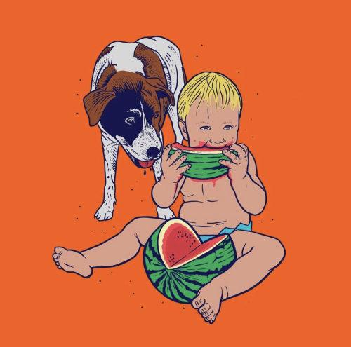 Cuadro de comida y bebida de babdy y perro con sandía