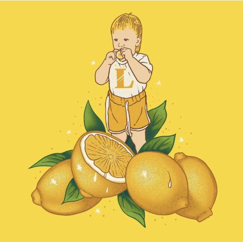 Cuadro de comida y bebida de niño con limón