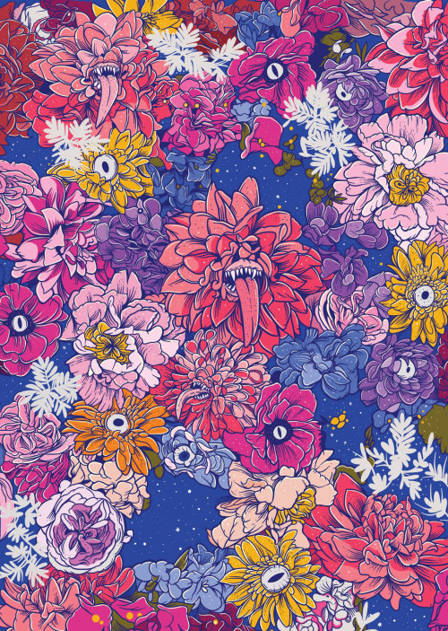 Colorful flower painting pattern