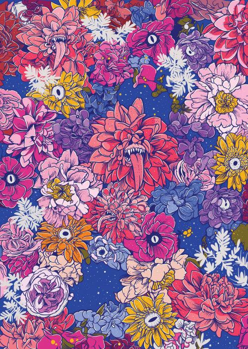 Patrón de pintura de flores de colores