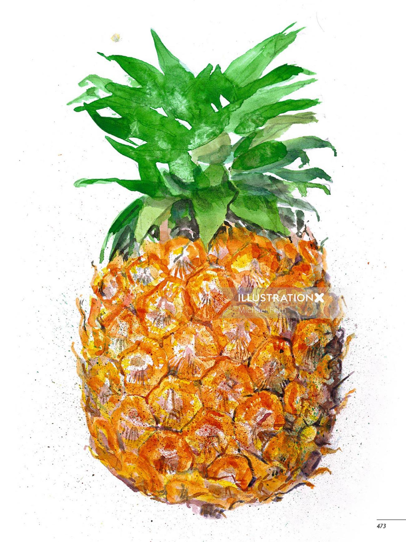Pineapple fruit painting