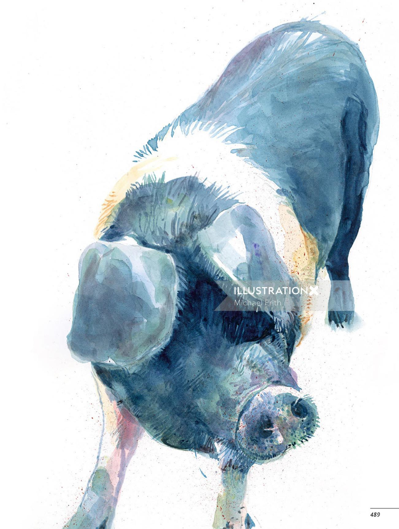 Portrait art of pig by Michael Frith