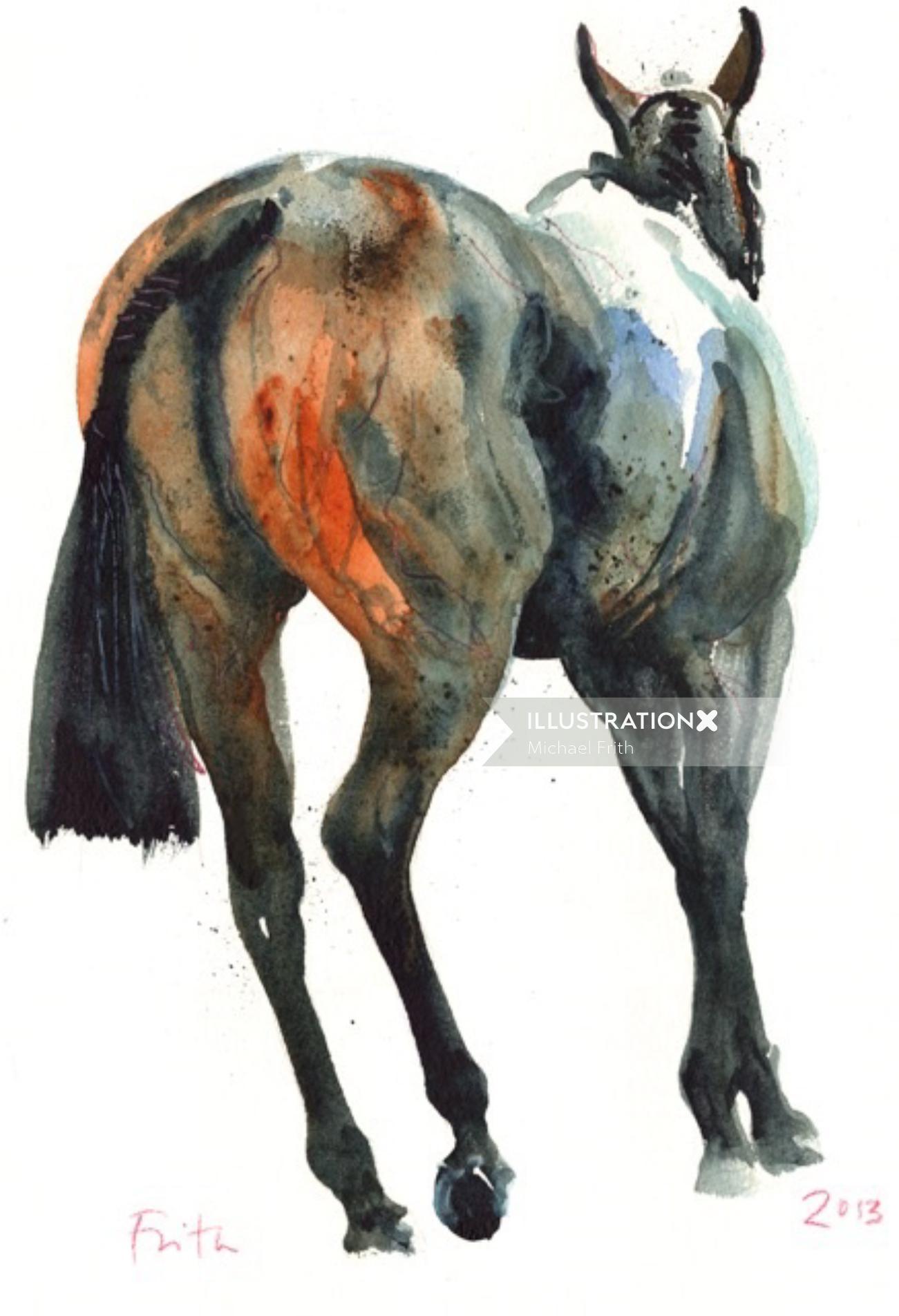 Stallion animal oil painting