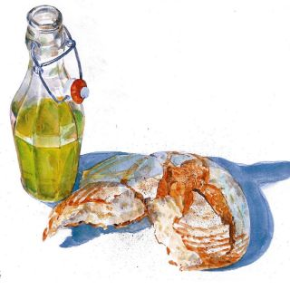Watercolor drawing of food