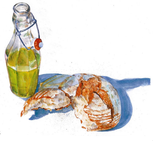 Watercolor drawing of food