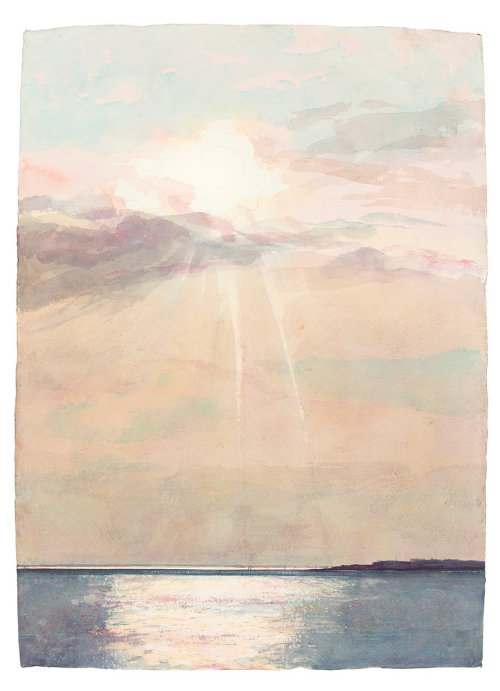 Watercolor illustration sea and sky