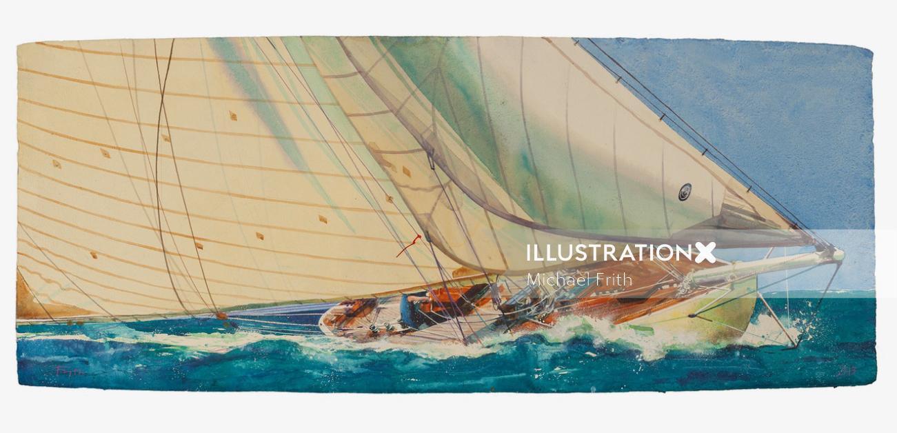 Watercolor illustration ship