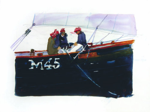 Watercolor illustration M45 boat