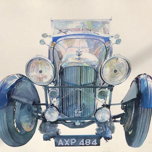 Watercolor illustration of car