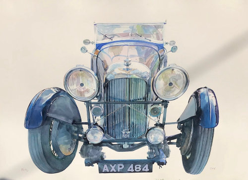 Watercolor illustration of car
