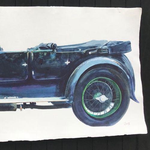 Watercolor illustration historic car