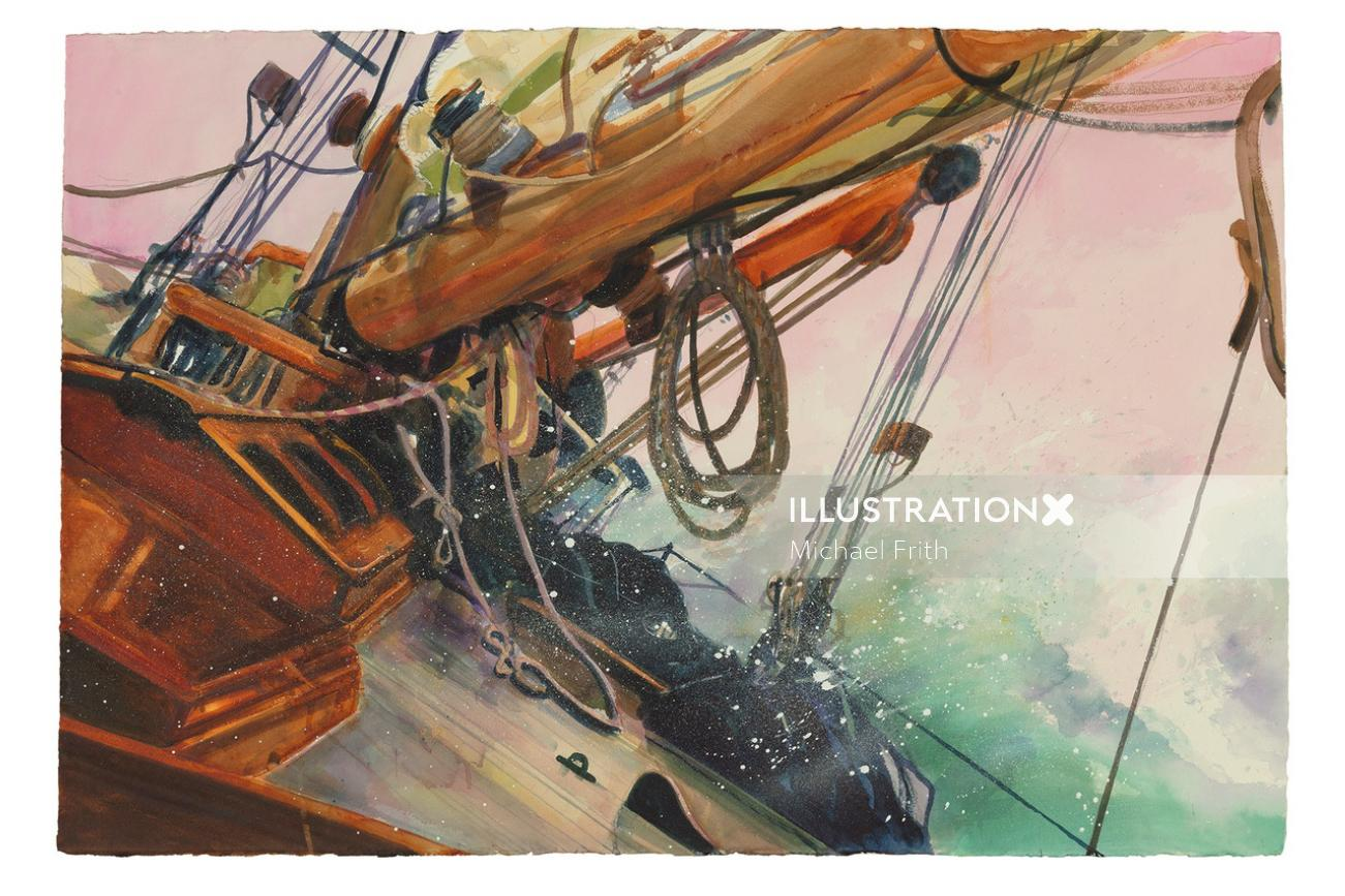 Graphic illustration of ship