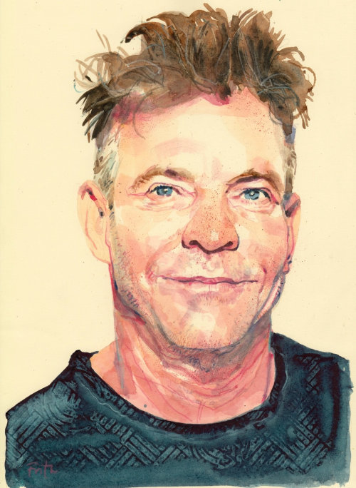 Watercolor illustration celebrity portrait
