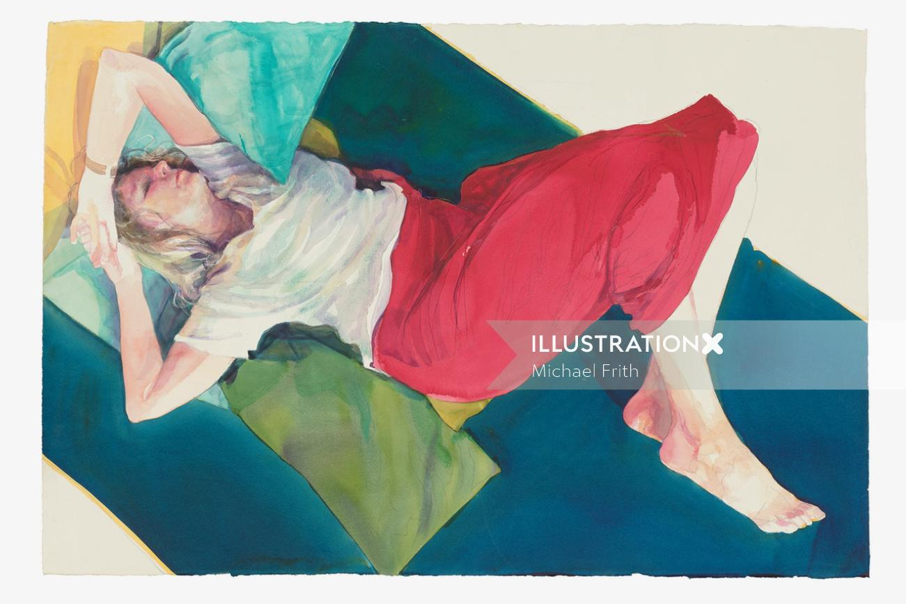 watercolor illustration of sleeping woman