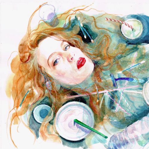 Watercolor illustration of woman