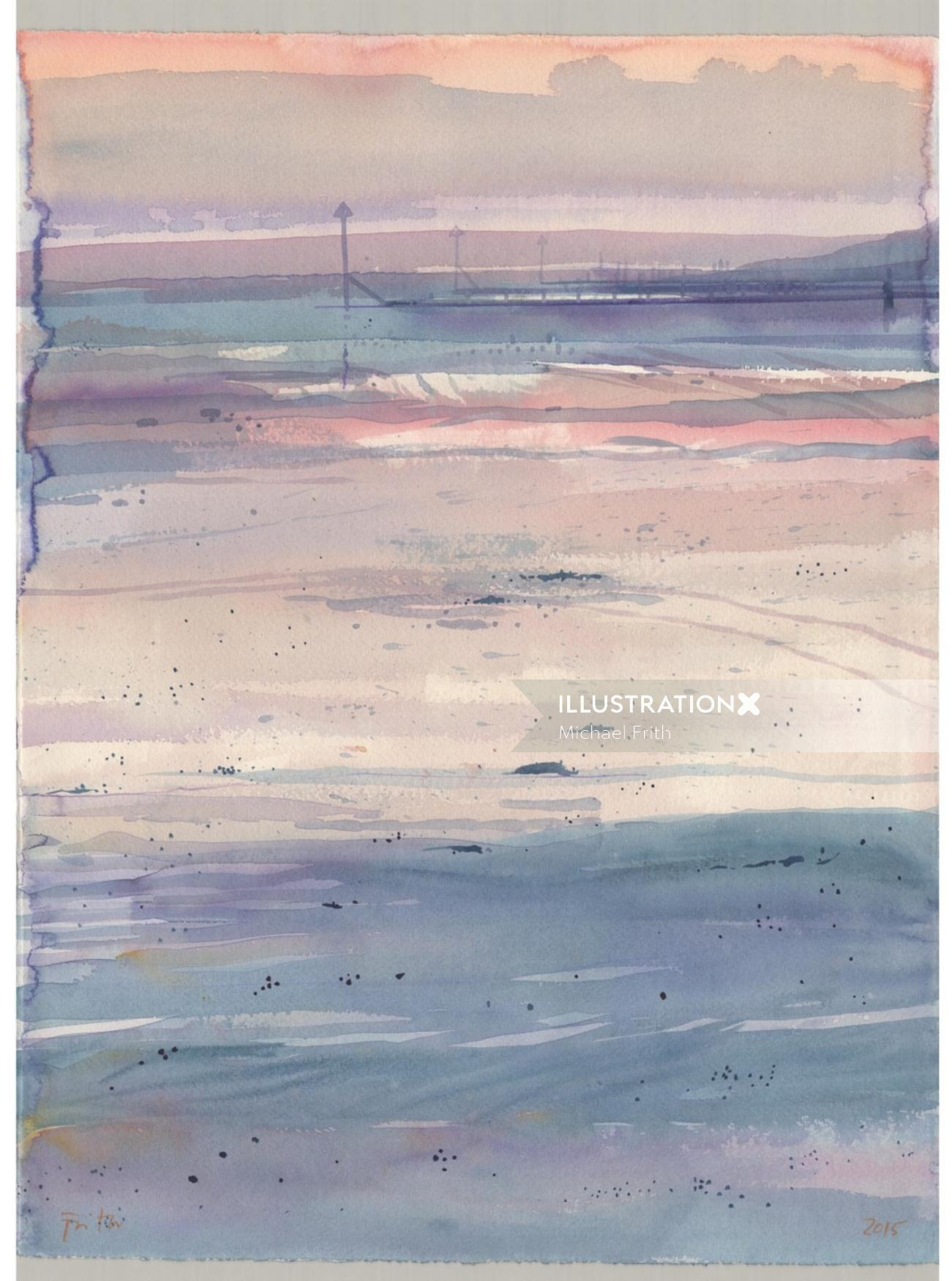 watercolor illustration of landscape